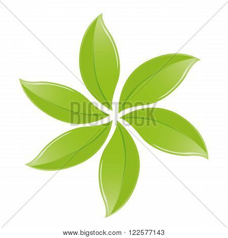an illustration of a pinwheel with leaves