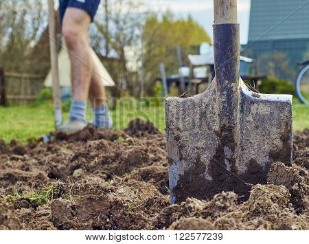 Young man is digging the earth for planting vegetables