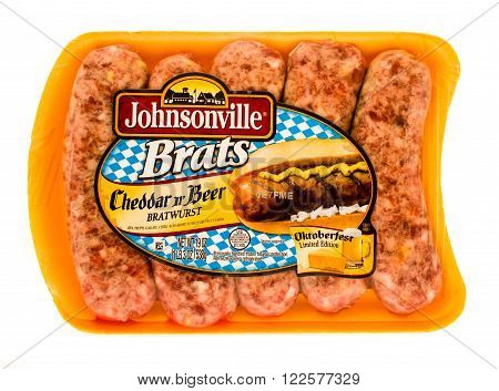 Winneconne, WI -23 Sept 2015: Package of Johnsonville Brats in Cheddar n Beer flavor. An Oktoberfest limited edition.
