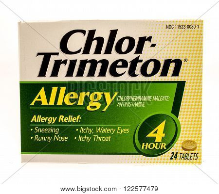 Winneconne WI -1 Oct 2015: Box of Chlor-Trimeton allergy relief tablets.
