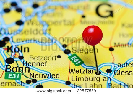Photo of pinned Wetzlar on a map of Germany. May be used as illustration for traveling theme.