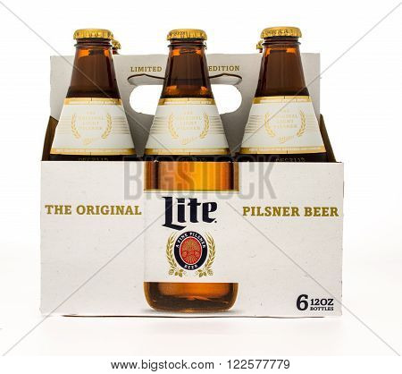 Winneconne, WI -14 Oct 2015: Six pack of Miller Lite beer in new design.