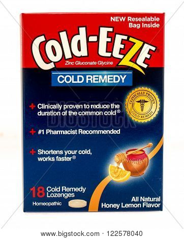 Winneconne WI -1 Oct 2015: Box of Cold-Eeze cold remedy that is clinically proven to work.