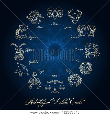 Astrological zodiac circle. Horoscope zodiac wheel with hand drawn zodiac signs
