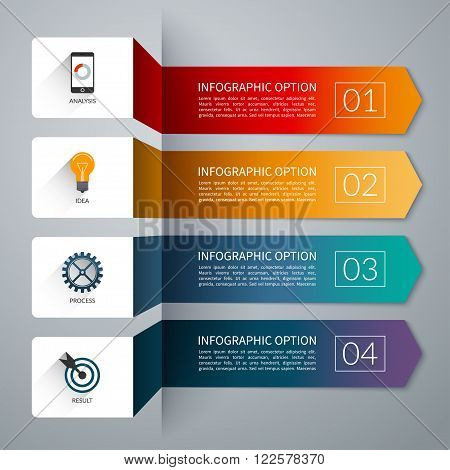 Arrow infographic template. Infographic options banner. Vector layout for business infographics with marketing icons and design elements. Abstract background with 4 steps, parts, stages, processes.