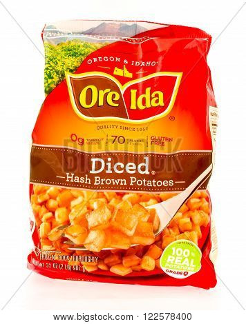 Winneconne WI - 29 August 2015: Bag of Ore Ida diced hash browns made from 100% potatoes.