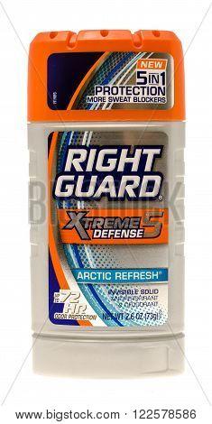 Winneconne WI -4 Oct 2015: Stick of Right Guard deodorant in artic refresh fragrance.