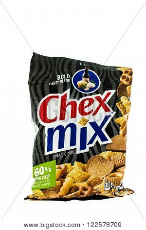 Winneconne WI - 4 February 2015: Bag of Chex Mix Bold Party Blend snack mix. Created in 1985 as pre-packaged and is now owned by General Mills.