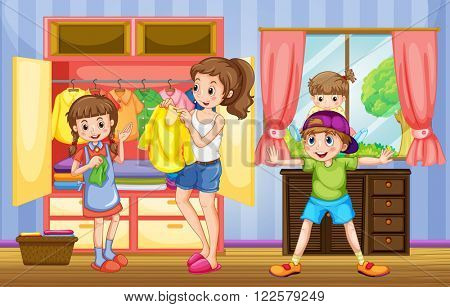 People in family doing chores illustration