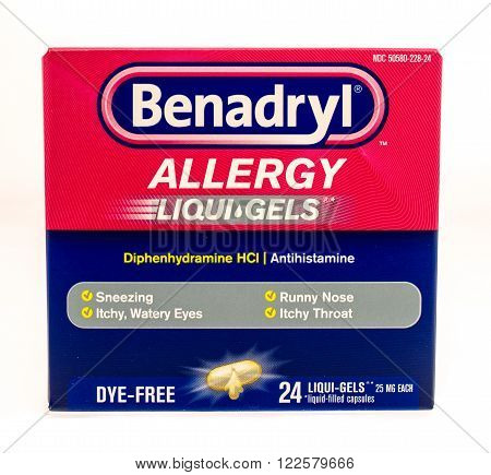 Winneconne WI -1 Oct 2015: Box of Benadryl allergy liquid gel capsules.