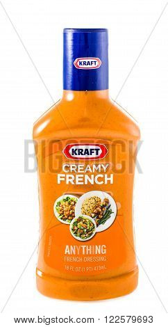 Winneconne WI - 30 January 2015: Bottle of Kraft Creamy French salad dressing. Kraft was founded in 1903 and is located in Northfield IL.