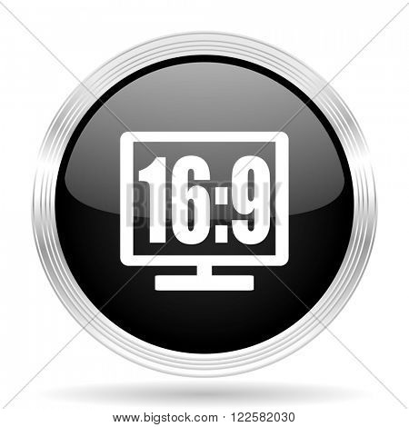 16 9 display black metallic modern web design glossy circle icon