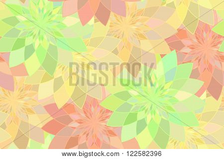 Seamless pattern with red yellow and green floral guilloche. Seamless guilloche pattern. Seamless floral pattern. Yellow seamless background. Guilloche design line art pattern. Vector illustration