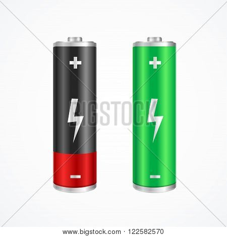 Charging Concept Full and Low Battery. Green and Red. Vector illustration
