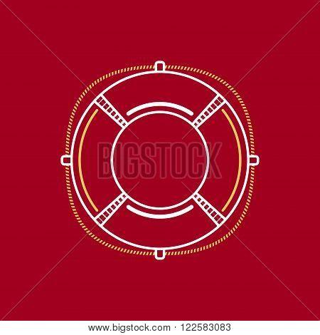 Lifebuoy, Marine Emblem with Lifebelt, Line Style Design, Logo Design Element, Vector Illustration