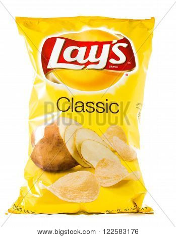Winneconne WI - 29 January 2015: Bag of 10 OZ Frito Lay classic potato chips. Frito-Lay is the worlds largest distributed snack food.