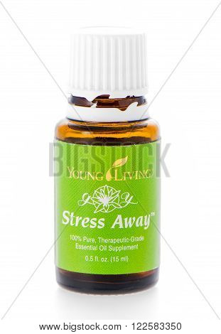 Winneconne WI - 19 February 2015: Bottle of Young Living Stress Away essential oil supplement.