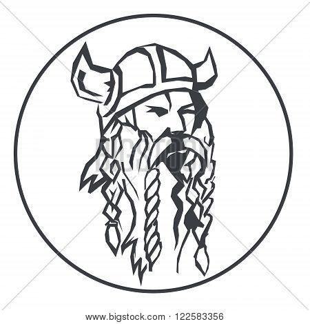 head of the viking Hand drawn vector illustration of viking