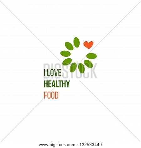 Modern vector healthy fresh food sign. Restaurant logo, badge, label, icon idea. I love healthy food quote. Healthy lifestyle food logo. Vegan, vegetarian, healthy product design element.