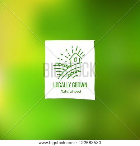 Hand sketch Locally grown tag with farmer home and field at green background. Eco friendly farm product label. Food market hand drawn icon. Vegetarian and healthy diet. Farm fresh organic food. Natural food tag for packaging.