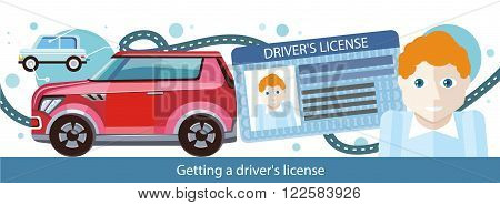 Cartoons man with driver license modern red car and road. Driver license identification card. International plastic. Vector driver license. Identification concept. Flat cartoon design