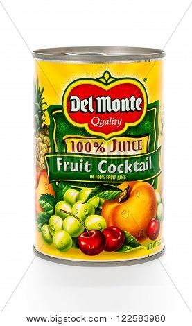 Winneconne WI - 8 February 2015: Can of Del Monte Fruit Cocktail in 100% fruit juice.