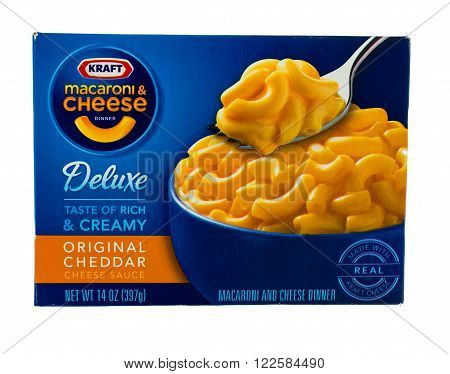 Winneconne WI - 5 February 2015: Package of Kraft Macaroni & Cheese Deluxe meal with chedder sauce. Kraft was founded in 1903 and is located in Northfield IL.