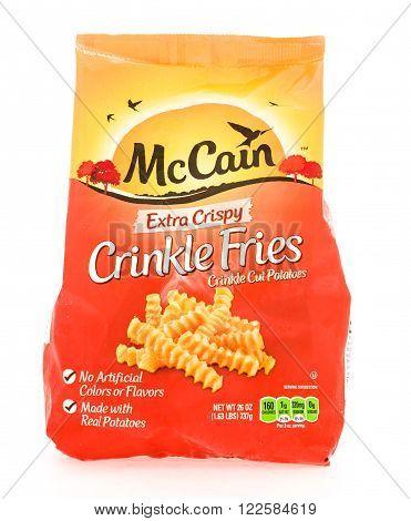 Winneconne WI - 18 August 2015: Bag of McCain extra crispy crinkle fries.