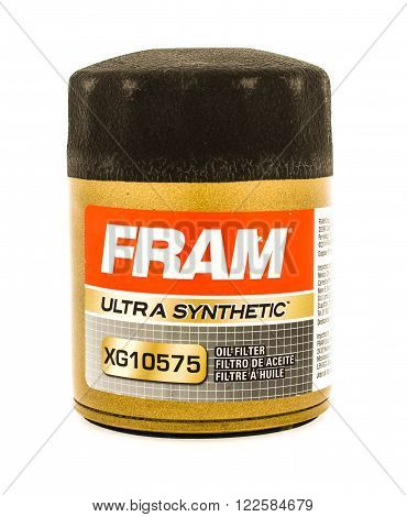 Winneconne, WI - 23 August 2015: Fram ultra synthetic oil filter used on vehicles.