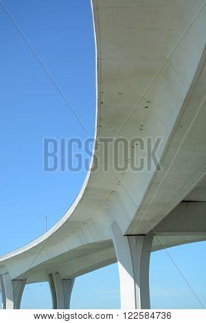 bottom of a large concrete bridge transportation concept