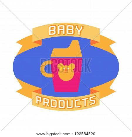 Vector cute baby logotype. Baby and kid store logo template design element. Non-spill cup image