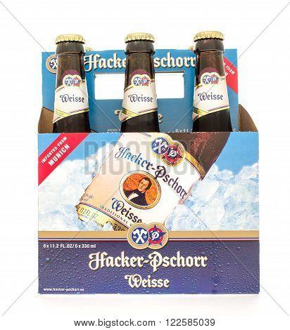 Winneconne WI -23 Oct 2015: Six pack of Hacker-Pschorr Weisse bear.