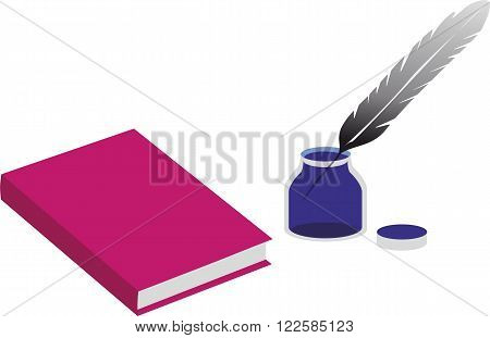 Book and an inkpot with a pen