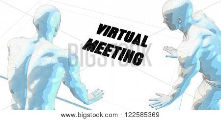 Virtual Meeting Discussion and Business Meeting Concept Art