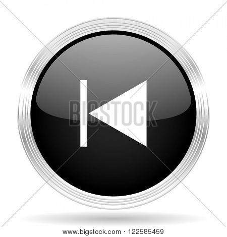 prev black metallic modern web design glossy circle icon