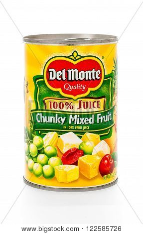 Winneconne, WI - 8 February 2015: Can of Del Monte Chunky Mixed Fruit in 100% fruit juice.
