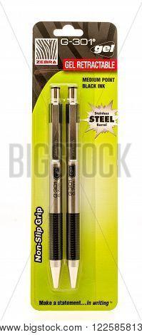 Winneconne, WI -27 Sept 2015: Package of Zebra G-301 gel pens.