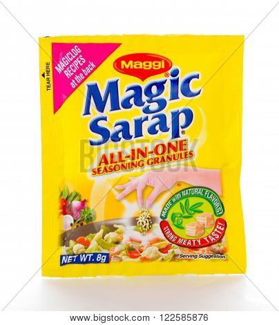 Winneconne WI - 21 February 2015: Package of Magic Sarap seasoning is very popular in the Philippines.