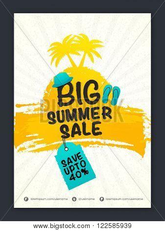 Big Summer Sale Banner, Sale Poster, Sale Flyer, Sale Vector. Discount Upto 40%, Vector illustration.