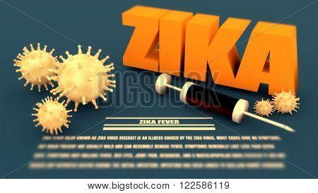 Abstract virus image on backdrop and zika text. Zika virus danger relative illustration. Medical research theme. Virus epidemic alert. Blurred description text