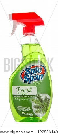 Winneconne WI -31 Oct 2015: Spray bottle of Spic and Span all purpose cleaner.