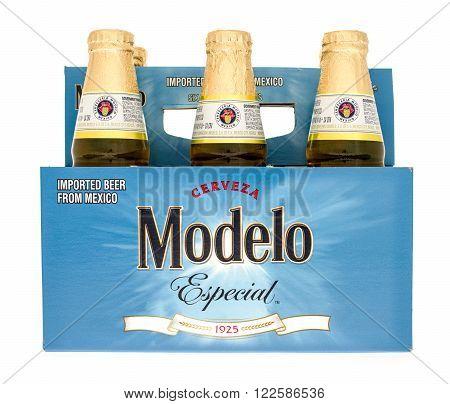 Winneconne WI -15 Oct 2015: Six pack of Modelo Especial beer.
