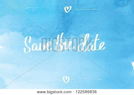 Save The Date Typographic Blue
