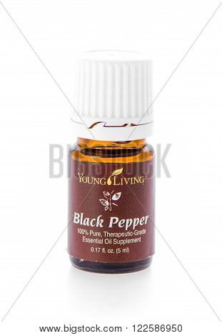Winneconne WI - 19 February 2015: Bottle of Young Living Black Pepper essential oil supplement.