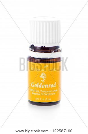 Winneconne WI - 19 February 2015: Bottle of Young Living Goldenrod essential oil supplement.