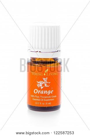 Winneconne WI - 19 February 2015: Bottle of Young Living Orange essential oil supplement.
