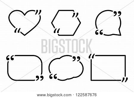Website review quote icon citation blank template. Quote bubble comment template isolated on white background. For Information and text. Vector illustration