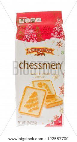 Winneconne WI - 26 Nov 2015: Bag of Pepperidge Farm chessman cookies.