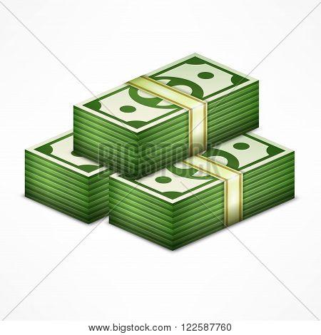 Piles of money stack cash dollar on white vector illustration