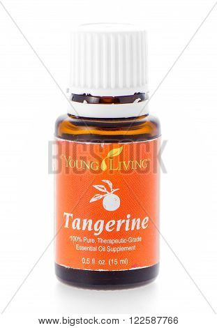 Winneconne WI - 19 February 2015: Bottle of Young Living Tangerine essential oil supplement.